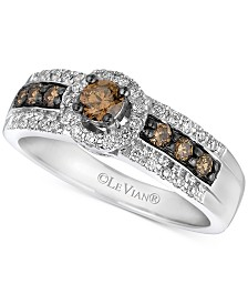 Le Vian Chocolatier® Vanilla Diamond® & Chocolate Diamond® Statement Ring (1/2 ct. t.w.) in 14k White Gold