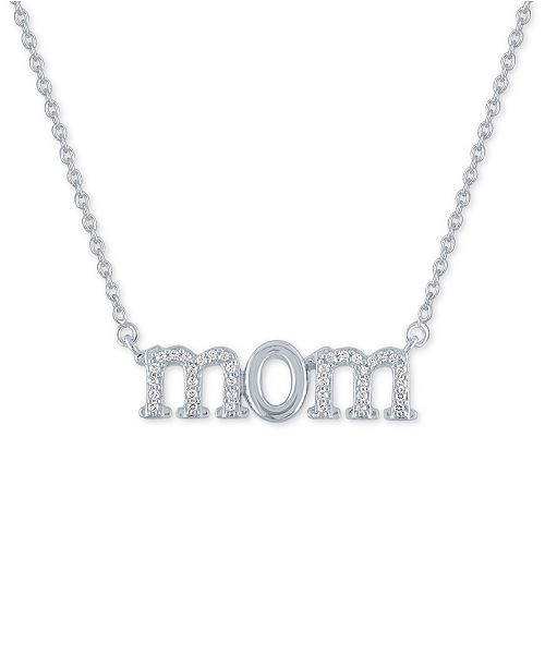 """Macy's Diamond """"Mom"""" 18"""" Pendant Necklace (1/10 ct. t.w.) in Sterling Silver"""