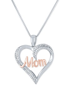 """Diamond """"Mom"""" Heart 18"""" Pendant Necklace (1/8 ct. t.w.) in Sterling Silver and 14k Rose Gold Plate"""