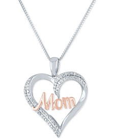 "Diamond ""Mom"" Heart 18"" Pendant Necklace (1/8 ct. t.w.) in Sterling Silver and 14k Rose Gold Plate"