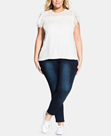 City Chic Trendy Plus Size Short-Sleeve Victorian Top