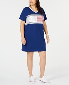 Tommy Hilfiger Sport Plus Size Colorblocked V-Neck Dress
