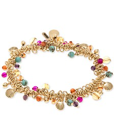 lonna & lilly Gold-Tone Bead & Shell Shaky Stretch Bracelet