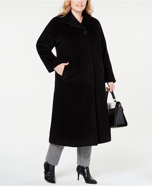 Jones New York Plus Size Wing-Collar Maxi Coat