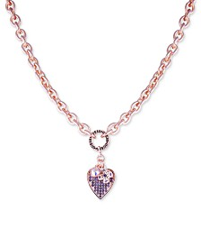 "GUESS Crystal Logo & Heart Pendant Necklace, 17"" + 2"" extender"