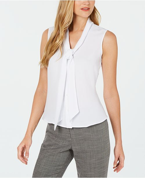 Calvin Klein Sleeveless Tie-Neck Blouse