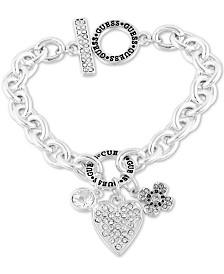 GUESS Crystal Charm Logo Link Bracelet