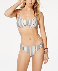 Cali Casual Printed Bralette Bikini Top & Printed Shirred Hipster Bottoms