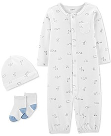 Baby Boys 3-Pc. Printed Cotton Coverall, Hat & Socks Set