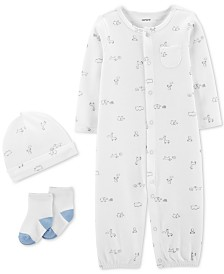 Carter's Baby Boys 3-Pc. Printed Cotton Coverall, Hat & Socks Set