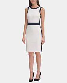 Tommy Hilfiger Paisley-Knit Colorblocked Sheath Dress