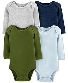 Baby Boys 4-Pack Long-Sleeve Bodysuits