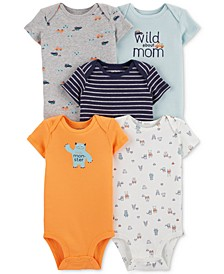 Baby Boys 5-Pack Monster Graphic Cotton Bodysuits