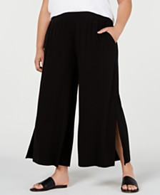 Eileen Fisher Plus Size Split Wide-Leg Pants