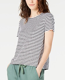 Eileen Fisher Organic Linen Striped T-Shirt