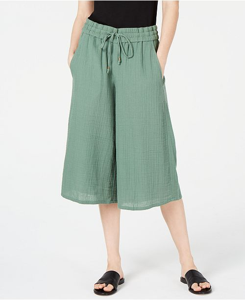 Eileen Fisher Drawstring Pull-On Cropped Pants