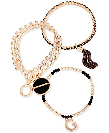 GUESS Gold-Tone 3-Pc. Set Jet Crystal, Bead & Chain Tassel Bracelets