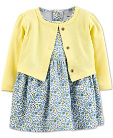 Baby Girls 2-Pc. Floral-Print Cotton Dress & Cardigan Sweater Set