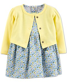 Carter's Baby Girls 2-Pc. Floral-Print Cotton Dress & Cardigan Sweater Set