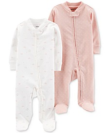 Baby Girls 2-Pc. Footed Cotton Coveralls