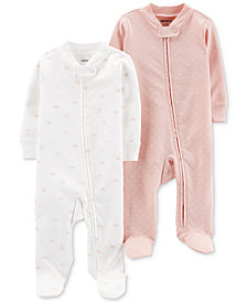 Carter's Baby Girls 2-Pc. Footed Cotton Coveralls