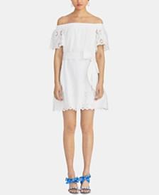 RACHEL Rachel Roy Ilenia Off-The-Shoulder Cotton Eyelet Dress