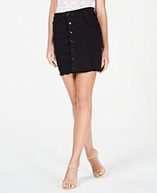 Mara Frayed Button-Front Skirt