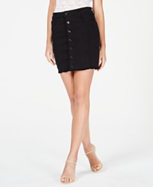 GUESS Mara Frayed Button-Front Skirt