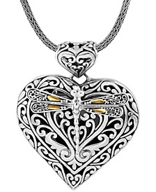Sweet Dragonfly Love Potion Sterling Silver Pendant Necklace Embellished by 18K Gold Accents on 4 Strips of Dragonfly's Wings