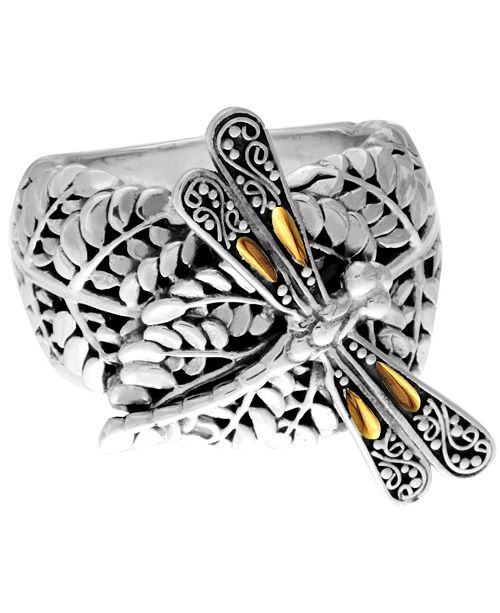 DEVATA Sweet Dragonfly Green Earth Sterling Silver Ring Embellished by 18K Gold Accents on 4 Strips of Dragonfly's Wings