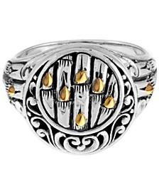 Bamboo Classic Sterling Silver Ring Embellished by 18K Gold Accents