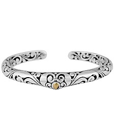 Bali Heritage Classic Sterling Silver Cuff Bracelet Embellished by 18K Gold