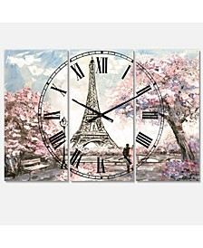 Designart French Country 3 Panels Metal Wall Clock