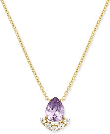 "Teardrop Crystal Cluster Pendant Necklace, 16"" + 1"" extender, Created for Macy's"