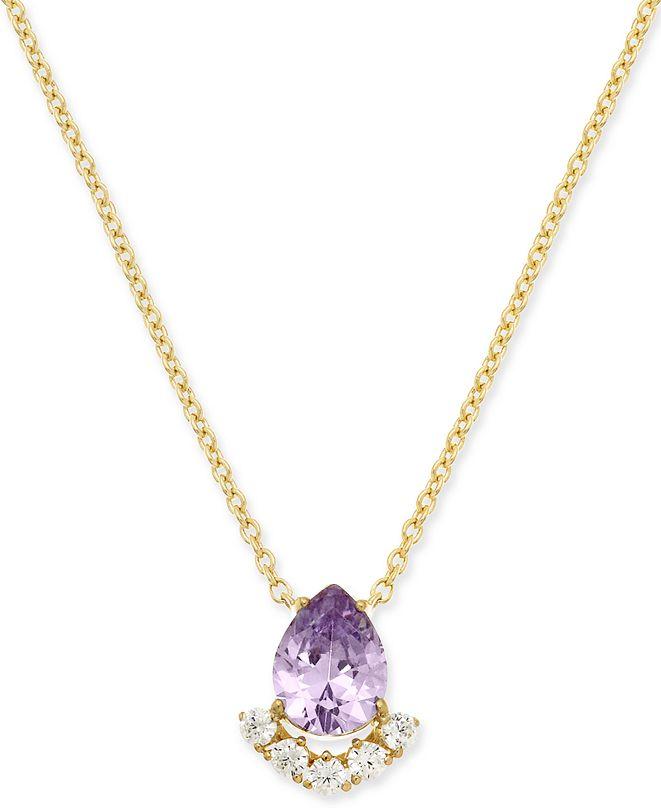 "Eliot Danori Teardrop Crystal Cluster Pendant Necklace, 16"" + 1"" extender, Created for Macy's"
