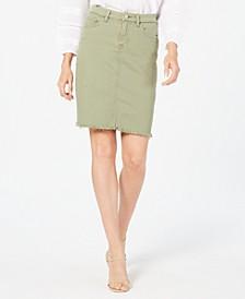 Frayed-Hem Denim Skirt