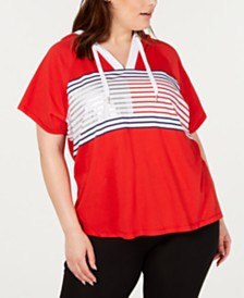 Tommy Hilfiger Sport Plus Size Striped Pullover Hoodie