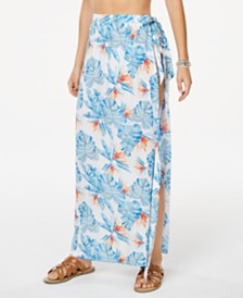 Roxy Juniors' Printed Free As Waves Cover-Up Maxi Skirt
