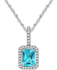 "Paraiba Mystic Topaz (1-1/10 ct. t.w.) & Diamond (1/8 ct. t.w.) 18"" Pendant Necklace in 14k White Gold"
