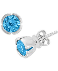EFFY® Blue Topaz Stud Earrings (1-5/8 ct. t.w.) in 14k White Gold