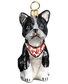 Joy to the World Boston Terrier with Bandana Pet Charity Ornament