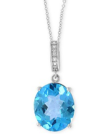 "EFFY® Blue Topaz (4-9/10 ct. t.w.) & Diamond Accent 18"" Pendant Necklace in 14k White Gold"