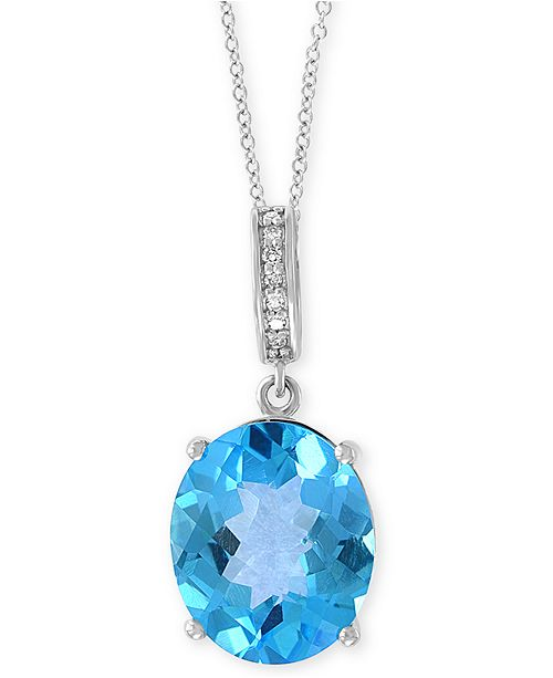 "EFFY Collection EFFY® Blue Topaz (4-9/10 ct. t.w.) & Diamond Accent 18"" Pendant Necklace in 14k White Gold"