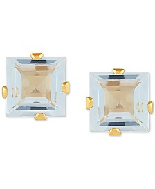 Aquamarine Square Stud Earrings (2 ct. t.w.) in 14k Gold