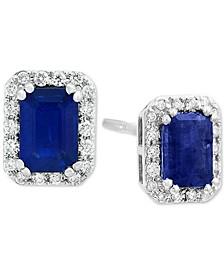 EFFY® Sapphire (1-1/3 ct. t.w.) & Diamond (1/5 ct. t.w.) Stud Earrings in 14k White Gold