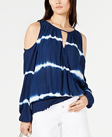 I.N.C. Tie-Dye Cold-Shoulder Top, Created for Macy's