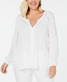 I.N.C. Plus Size Grommet-Trim Blouse, Created for Macy's