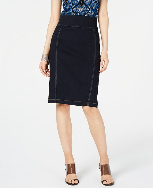 INC International Concepts INC INCFinity Jean Pencil Skirt, Created for Macy's