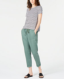 Eileen Fisher Organic Linen Striped T-Shirt & Drawstring Ankle Pants