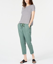 Eileen Fisher Organic Linen Striped T-Shirt & Drawstring Ankle Pants